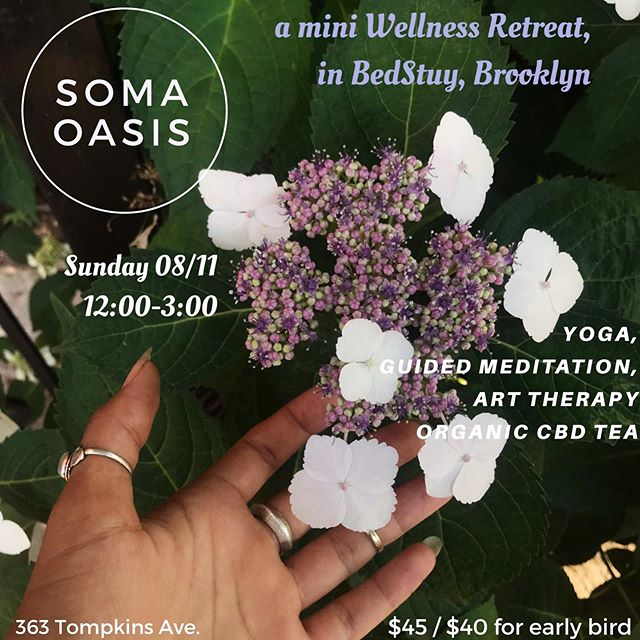 "On Sunday, Aug 11th the Tumbleweed #Wellness Series continues, presenting ""Soma Oasis"": A mini-retreat for the mind & body. ✨ Connect with your healthy self, utilizing a range of creative modalities including CBD,  Breath-work (w. @evamilan.z ), Yoga (w. @highlitesbk ), & Art Therapy (w. @lamacarena ). *Ticket link in Bio! 🌟early bird special ends 11:59pm Saturday, August 24th. We look forward to sharing space with you & holding space for you. 🙏🏾💛 _________________________________ #yoga #guidedmeditation #breathwork #arttherapy #bodyawareness #selflove  #selfcare #wellnessworkshop #wellnessretreat #cbd #cbdtea #cbdyoga #brooklyn #nyc #bedstuybrooklyn"