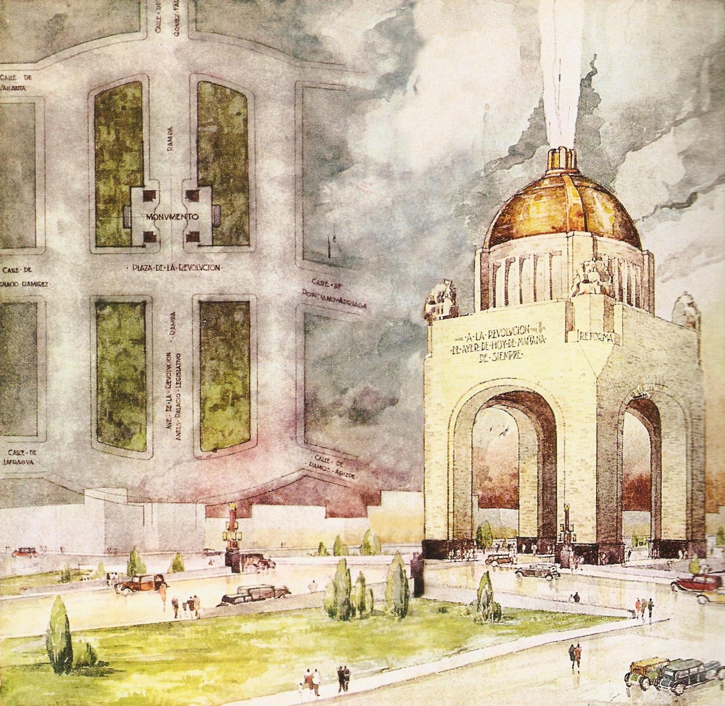 Proyecto de Carlos Obregón Santacilia para el Monumento a la Revolución (1933).jpg