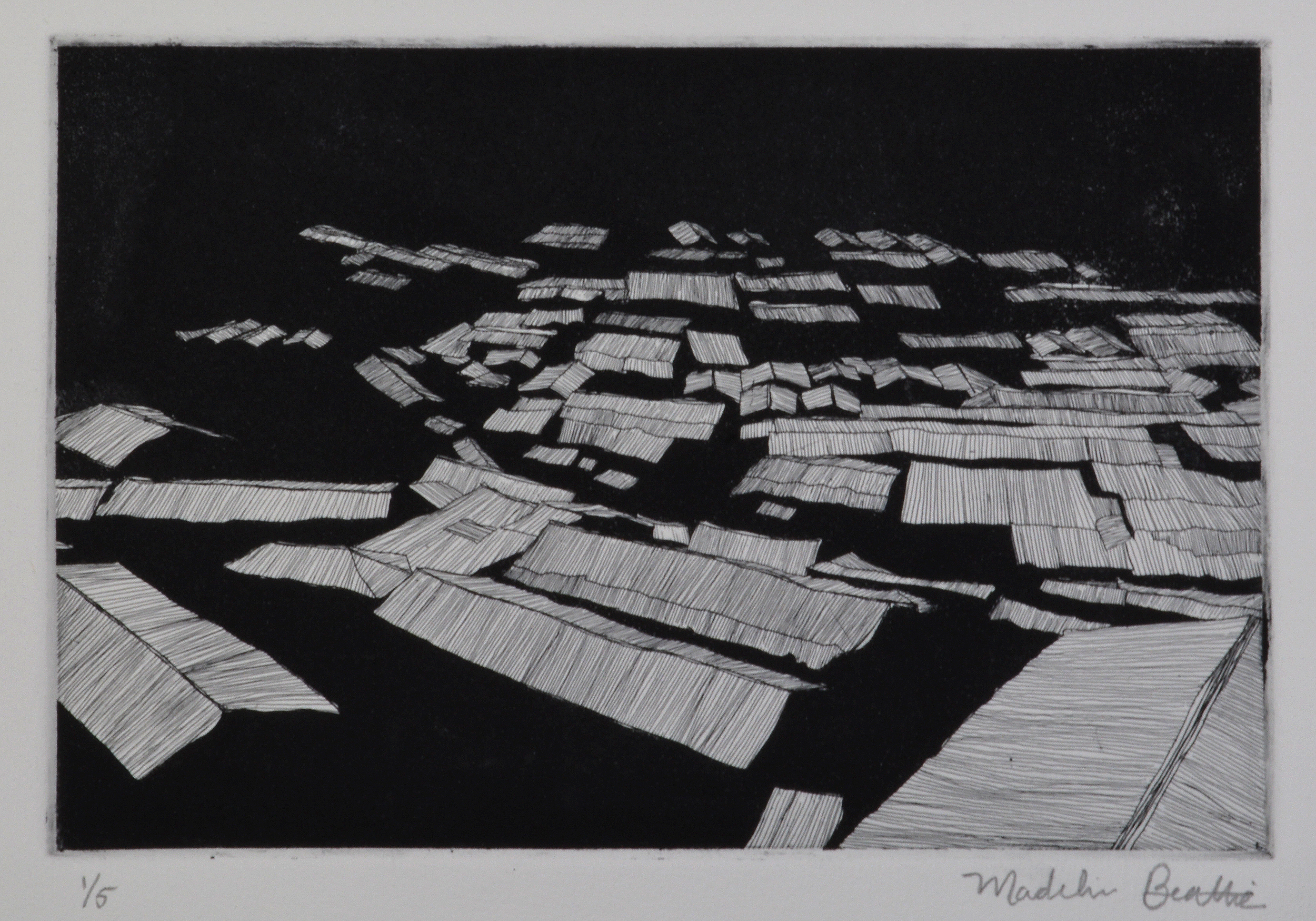 "Shack Town  14.5"" x 12.5""  Etching and Aquatint  2014"