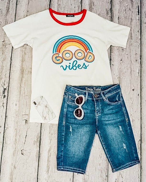 Good Vibes Only 🌈☁️ One of our MANY T-shirts in stock right now. Check out our website to find your favorite graphic 🤩⠀⠀⠀⠀⠀⠀⠀⠀⠀ .⠀⠀⠀⠀⠀⠀⠀⠀⠀ .⠀⠀⠀⠀⠀⠀⠀⠀⠀ .⠀⠀⠀⠀⠀⠀⠀⠀⠀ #Style #styles #styleblogger #styleinspiration #styleblog #styleoftheday #stylegram #styleinspo #stylediaries #styled #styleformen #styleguide #styleartists #styleaddict #stylebloggers #styleiswhat #styleicon #stylemen #stylelife #stylemepretty #stylediary #stylefashion #stylefile #styledbyme #styletips #StyleGoals #stylenanda #styledshoot #styleseat #styleinfluencer