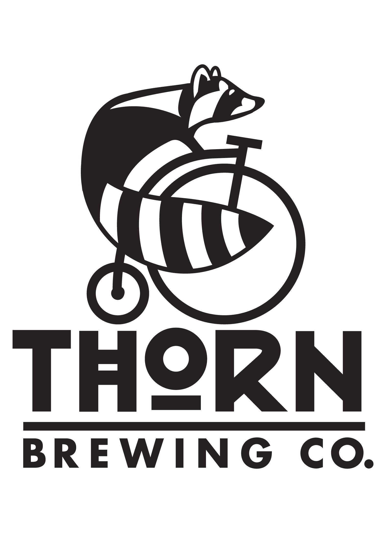 Thorn Brewing Co.   Thorn Street Brewery's rebrand to Thorn Brewing Co with Ralph the raccoon riding a penny farthing bike, San Diego, CA.