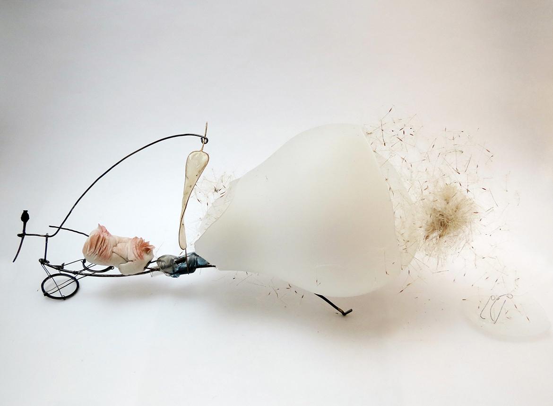 porcelain, lightbulb, filaments, dry plants, seeds