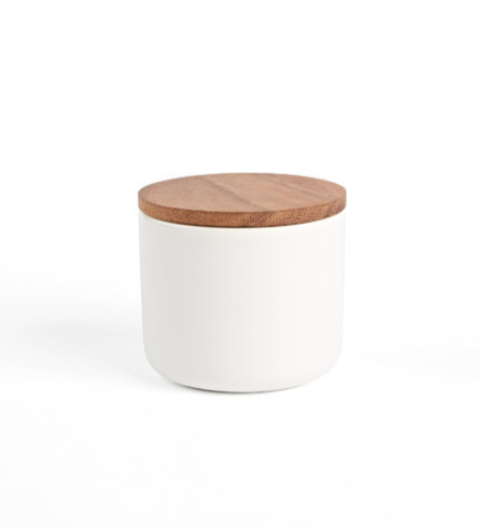 White Medium Canister with Wood Lid