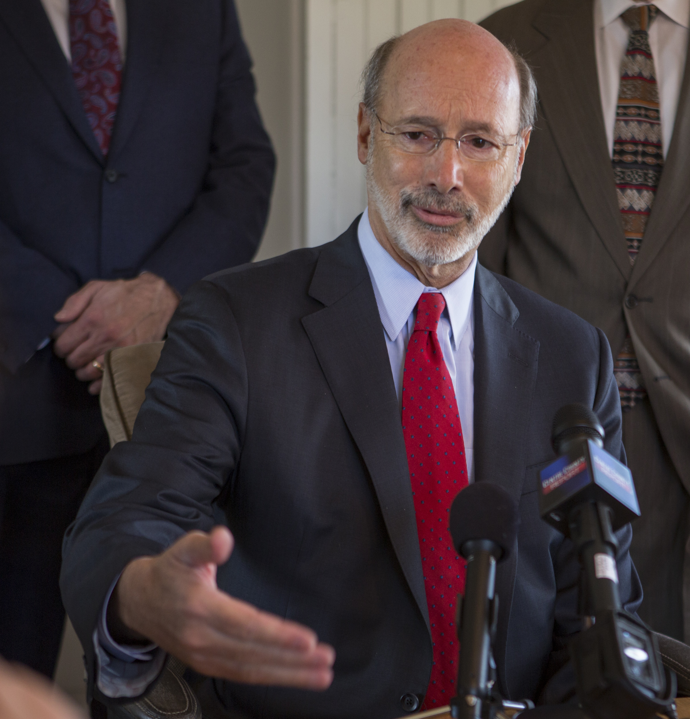 Pennsylvania Gov. Tom Wolf meets with members of the local media to discuss pats of his reform plan at Sen. Bob Casey's office in Bellefonte on Tuesday, March 29, 2016. Casey's office in Bellefonte on Tuesday, March 29, 2016.