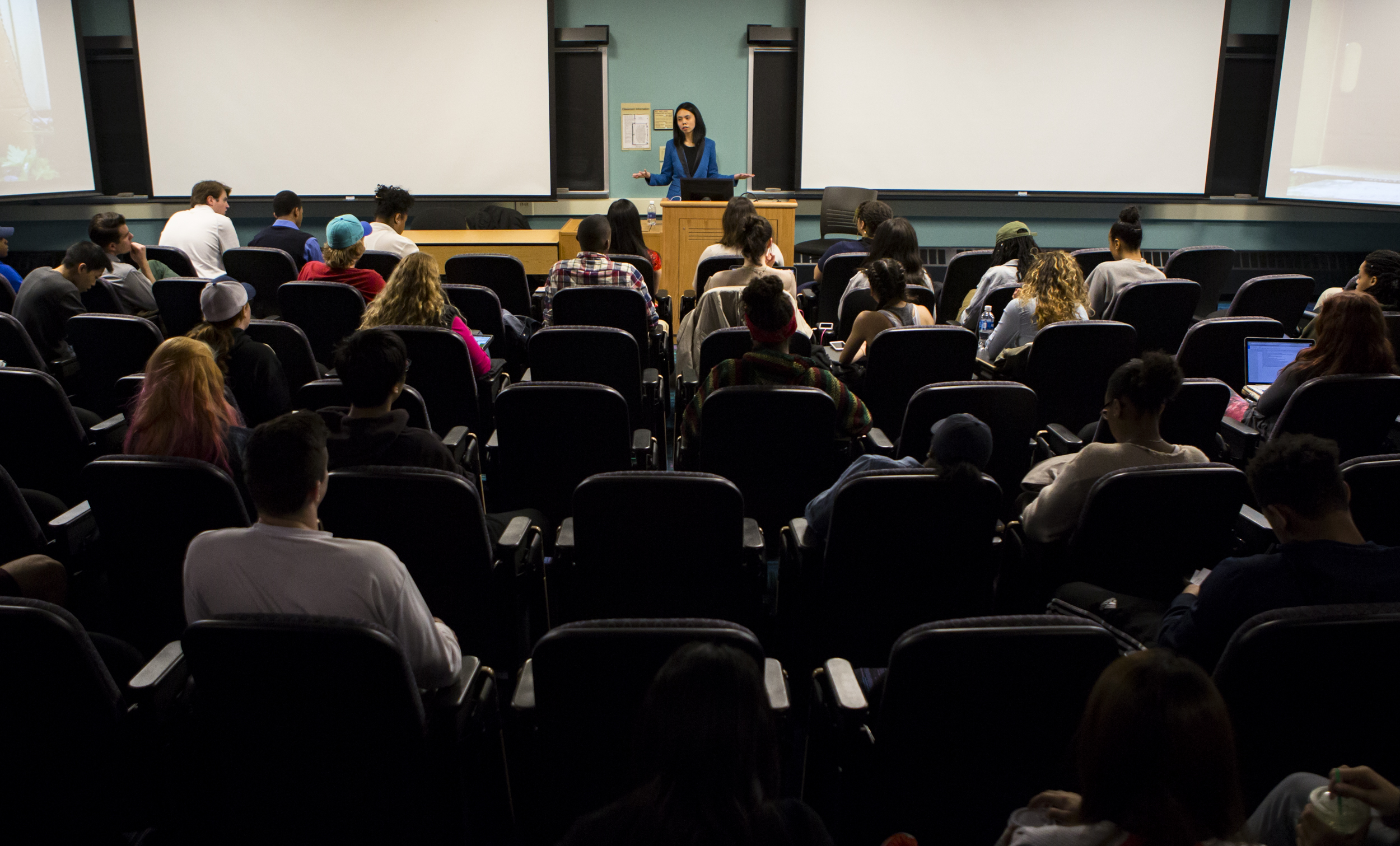 CNN Money multi-platform editor Leezel Tanglao speaks to students about creating success using digital media and platforms in the Willard Building on Thursday, March 31, 2016.