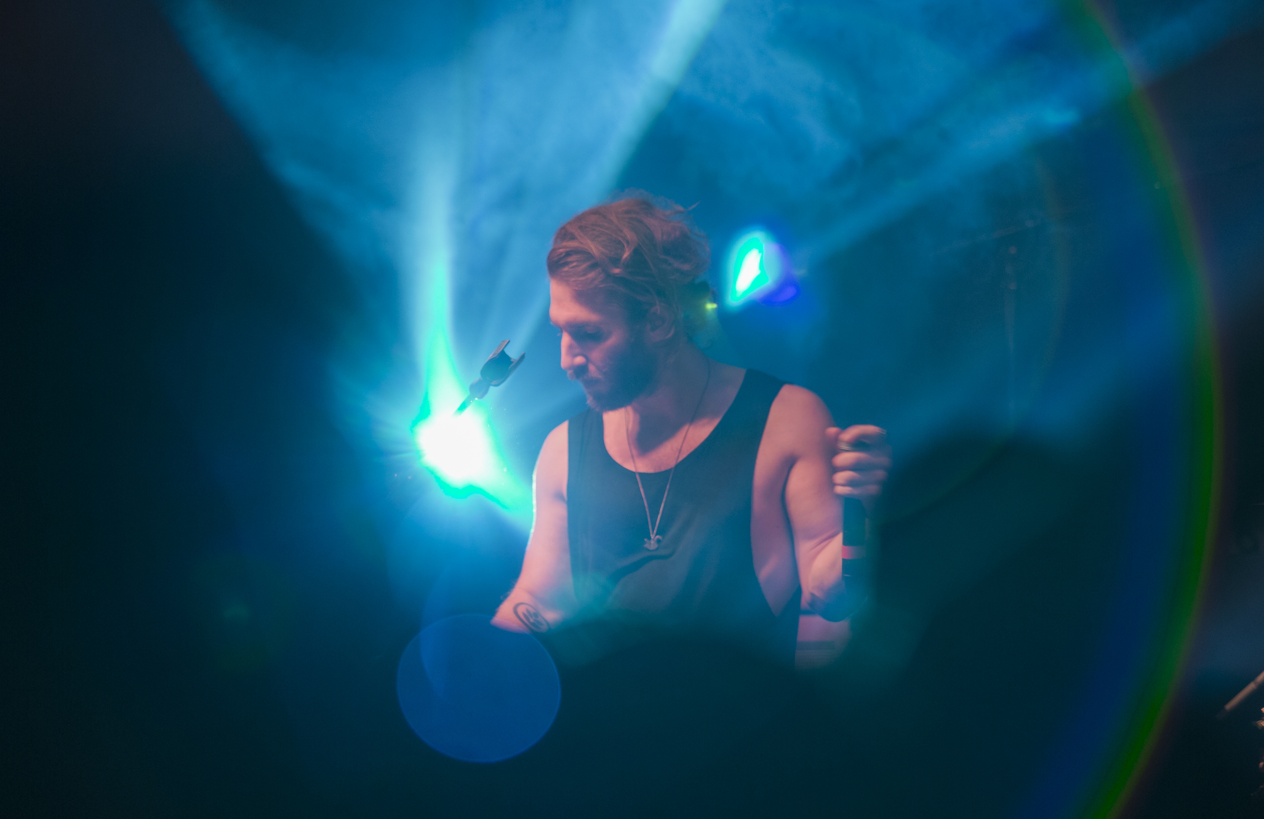 Sean Scanlon plays the keyboard with Smallpools at Alumni Hall on Friday, April 8, 2016.