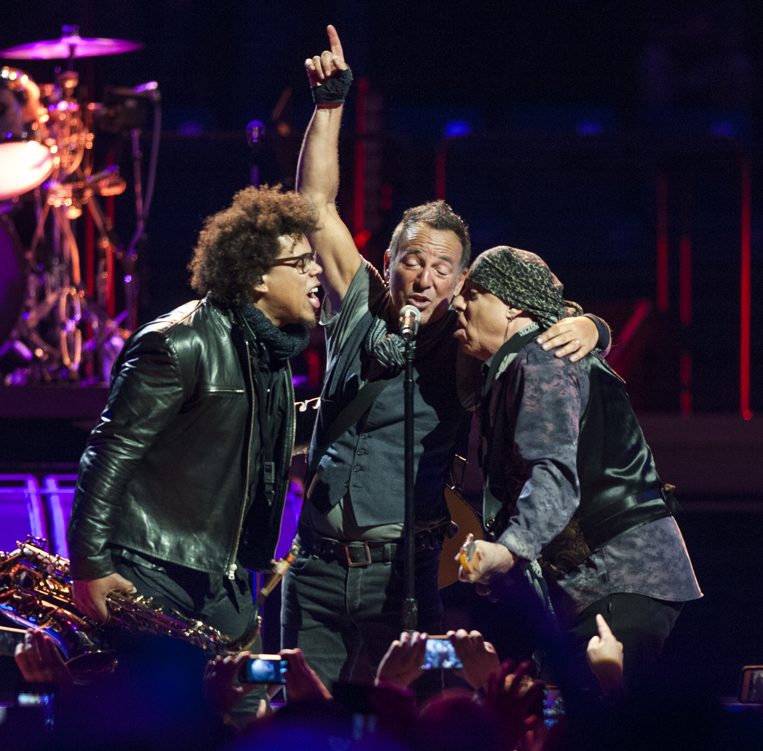 From left to right: Jake Clemons, Bruce Springsteen, and Stevie Van Zandt perform with the E Street Band at the Bryce Jordan Center on Monday, April 18, 2016.