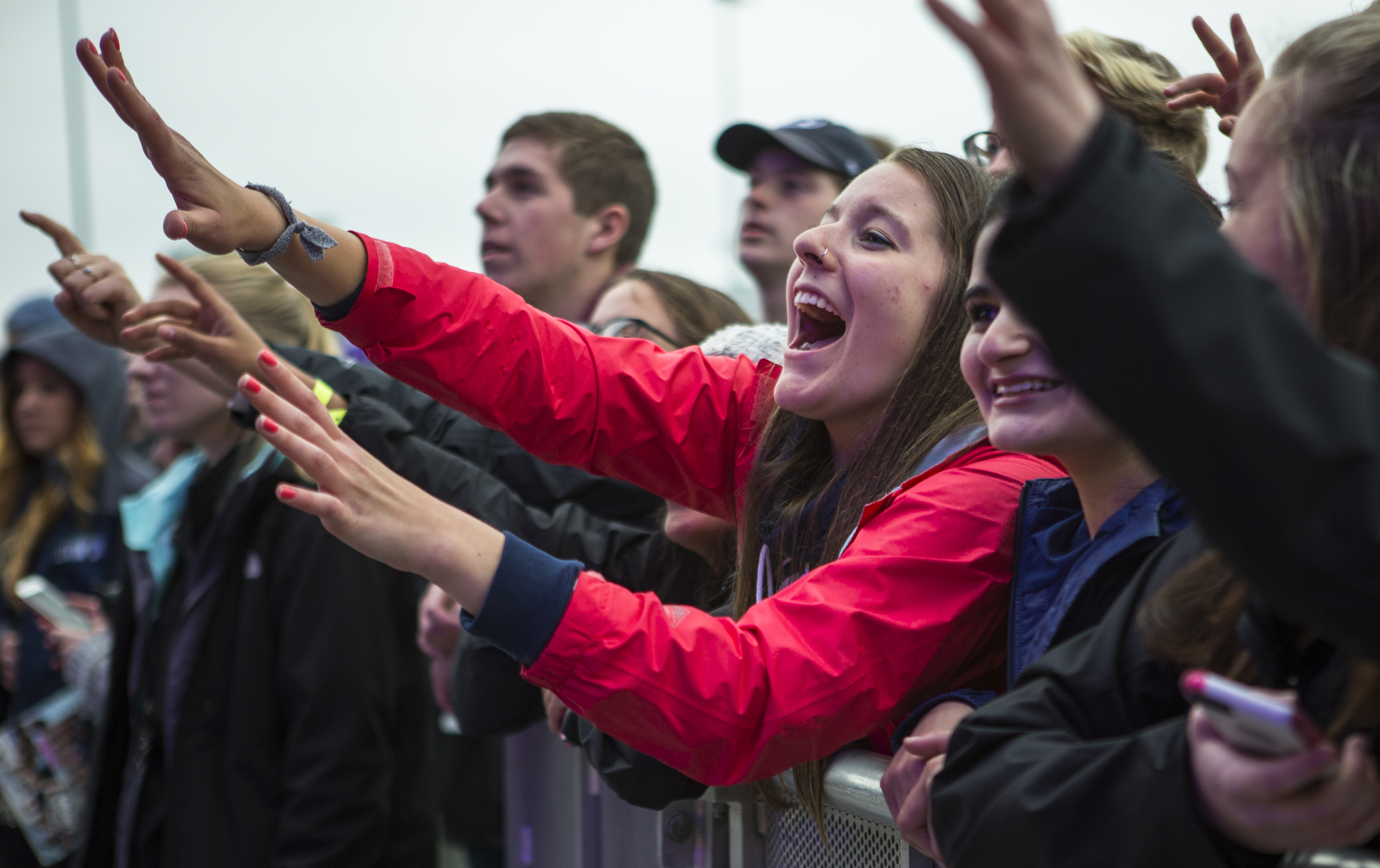 Fans cheer for Misterwives as they perform at Movin' On Music Festival on the IM fields on Friday, April 29, 2016.