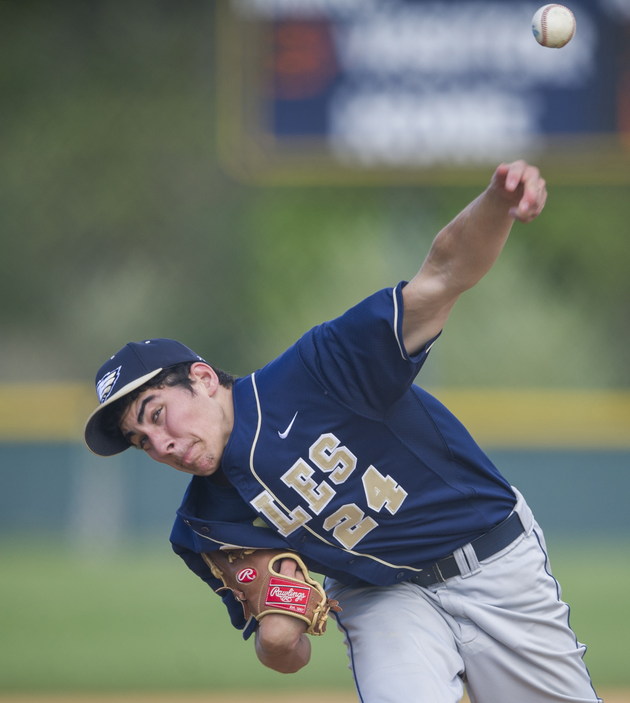 Bald Eagle Area High School pitcher sends the ball to the batter during the game against Bellefonte High School at Bald Eagle on Friday, May, 13, 2016. Bellefonte won the game 9-2.