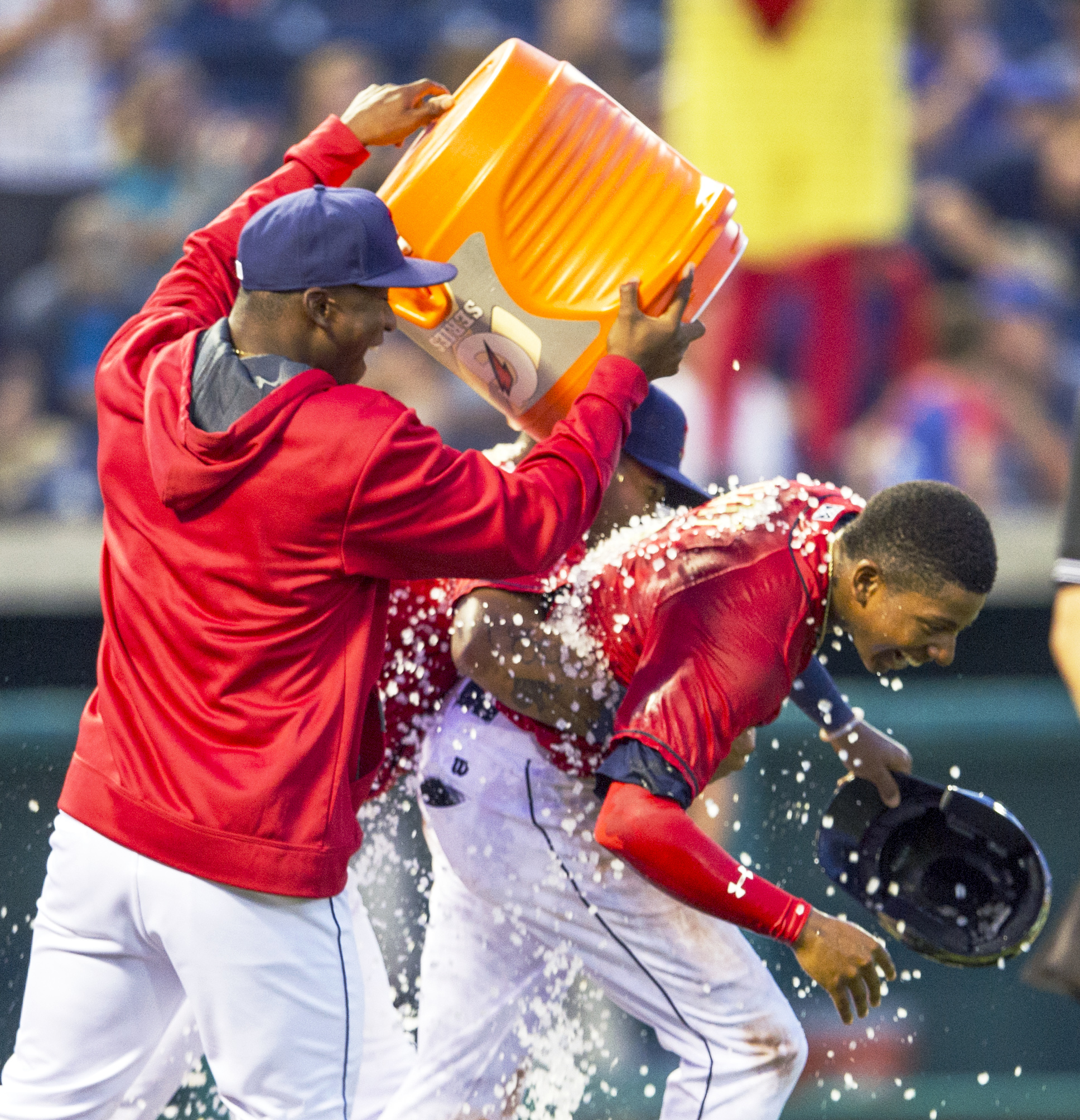 State College Spikes center fielder Anthony Ray is doused in ice water by teammates after scoring the the game winning run in the game against the Hudson Valley Renegades at Medlar Field on Sunday, June 19, 2016.