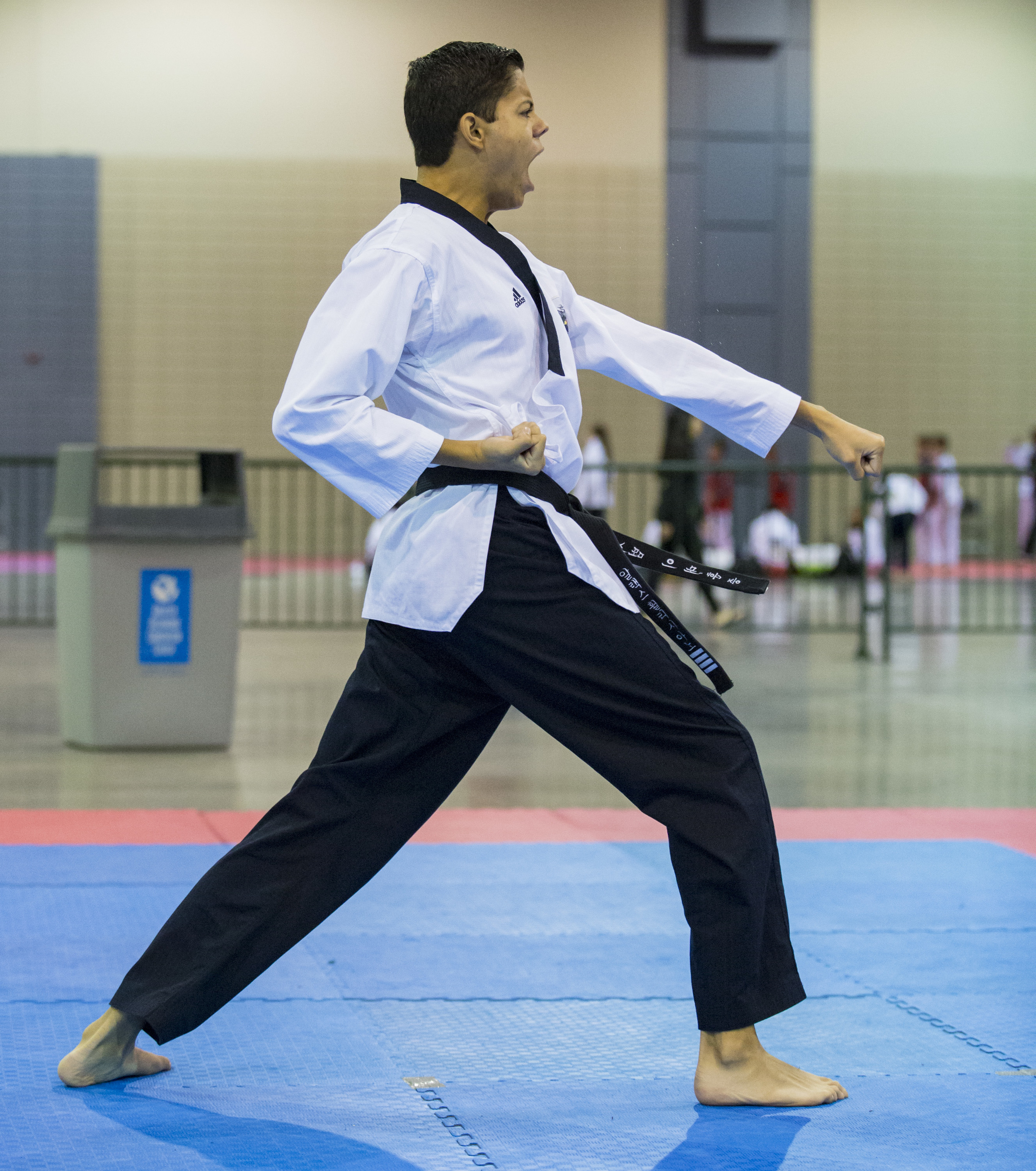 Alex Feliciano Negron competes in the under 30 world class black belt poomsae preliminaries during the USA Taekwondo National Championships held in the Greater Richmond Convention Center in Richmond, Va. on Friday, July 8, 2016.