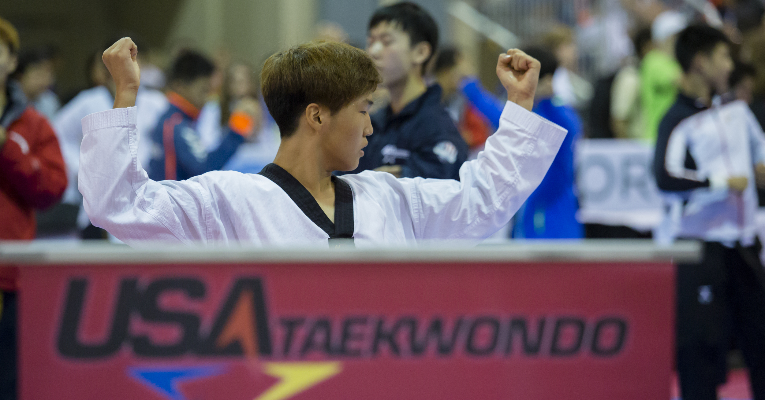 A competitor in the 2016 USA Taekwondo National Championships reherses his poomsae routine before the start on the tournament in the Greater Richmond Convention Center on Saturday, July 9, 2016.