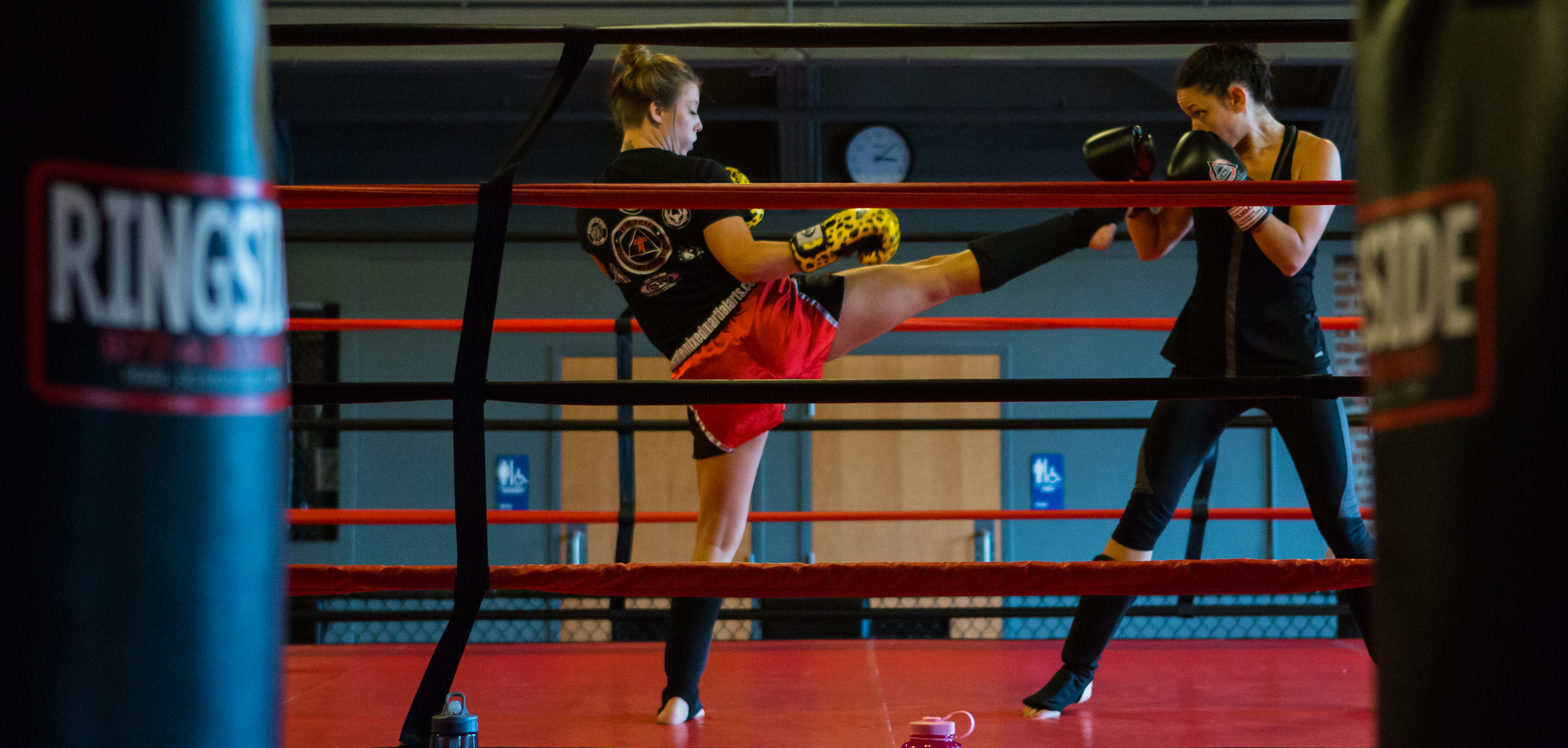 Ashley Rohrback of Levittown spars with Central PA Mixed Martial Arts instructor Elise Pone during women's only sparring day on Sunday, July 31, 2016.