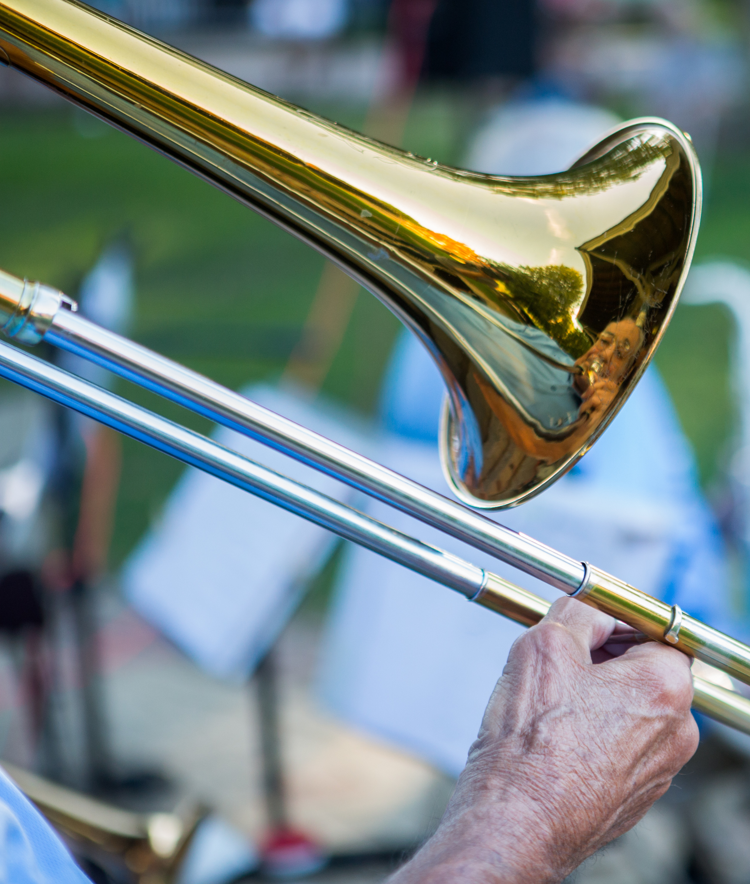 Lou Bernier plays the trombone with The Second Winds as part of the weekly concert series at Talleyrand Park in Bellefonte on Sunday, Aug. 7, 2016.