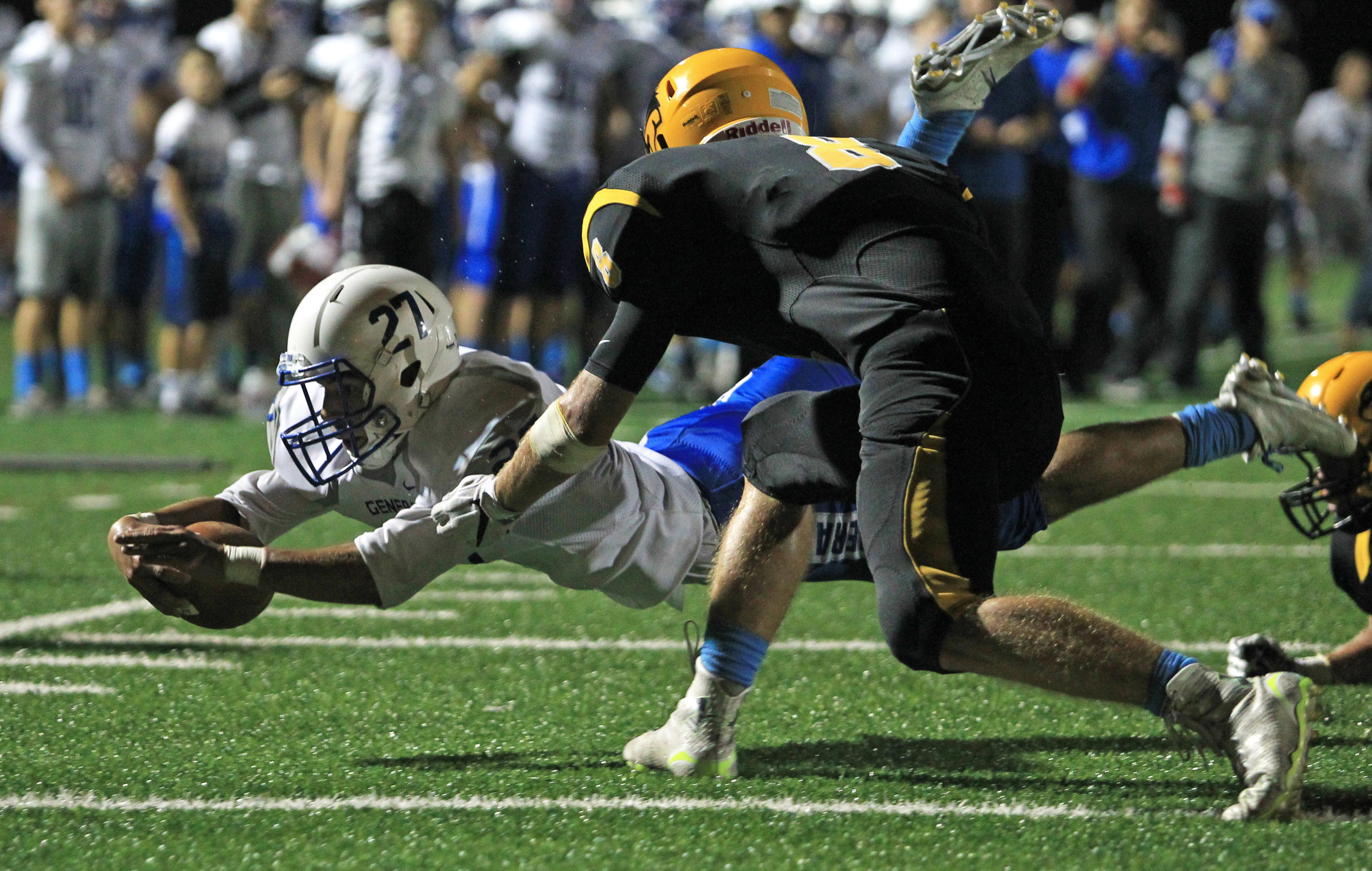 Anthony Wayne junior running back Max Guitteau dives just short of the end zone while under coverage from Northview High School defensive back Cam Corron during the game at Northview High School in Sylvania on Friday, Sept. 16, 2016. Anthony Wayne High School won the game 35-14.