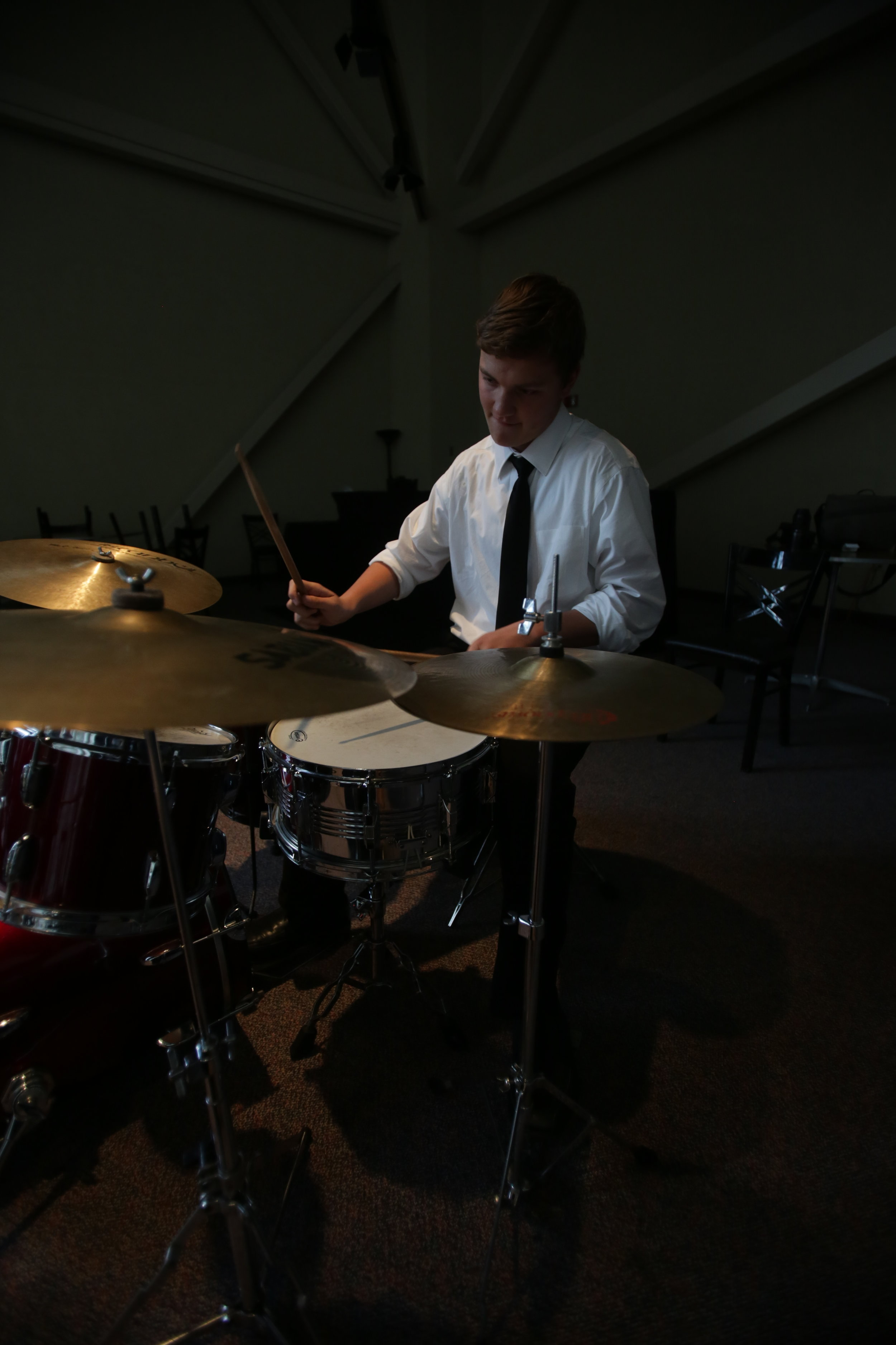 Toledo School for the Arts student Cole Sensenstein performs with the Urban Jazz collective during the 20 Under 40 awards reception at the Valentine Theatre in downtown Toledo on Monday, Sept. 26, 2016.
