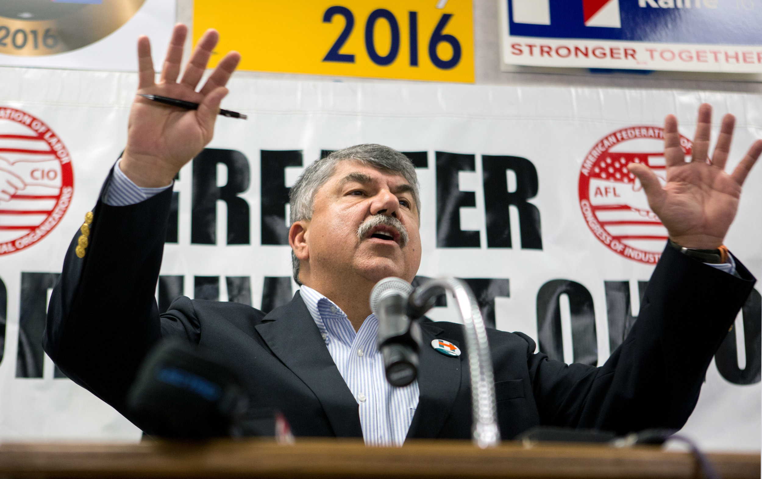 President of the American Federation of Labor and Congress of Industrial Organizations Richard Trumka campaigns for Hillary Clinton and the Democratic Party for the upcoming election during a AFL-CIO rally to kick off a day of canvasing at Toledo Federation of Teachers building in south west Toledo on Tuesday, Nov. 1, 2016.