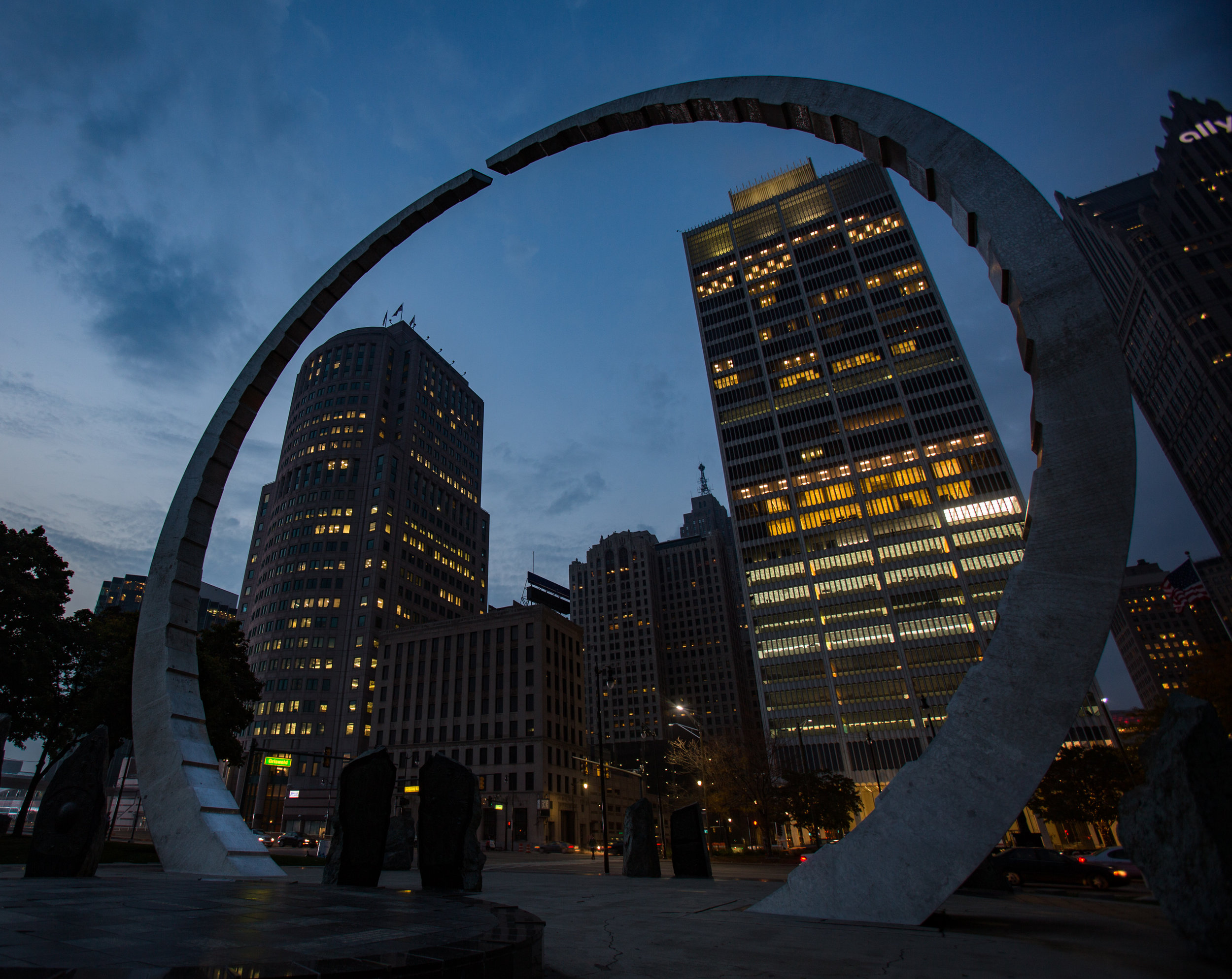 The Transcending sculpture in Hart Plaza in Detroit photographed on Wednesday, Nov. 2, 2016.