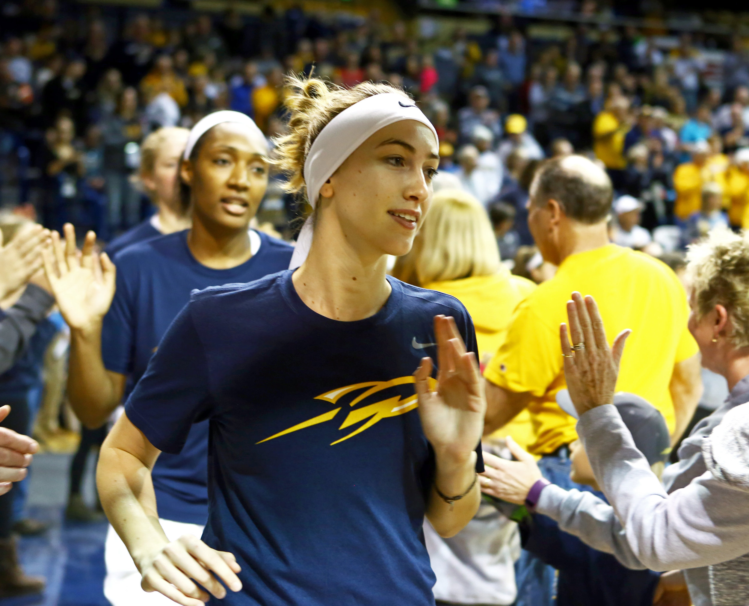 University of Toledo guard Mariella Santucci (3) takes the court with the rest of the women's basketball team through the tunnel before the start of the women's basketball game against Notre Dame at Savage Arena on the University of Toledo's campus on Sunday, Dec. 18, 2016.