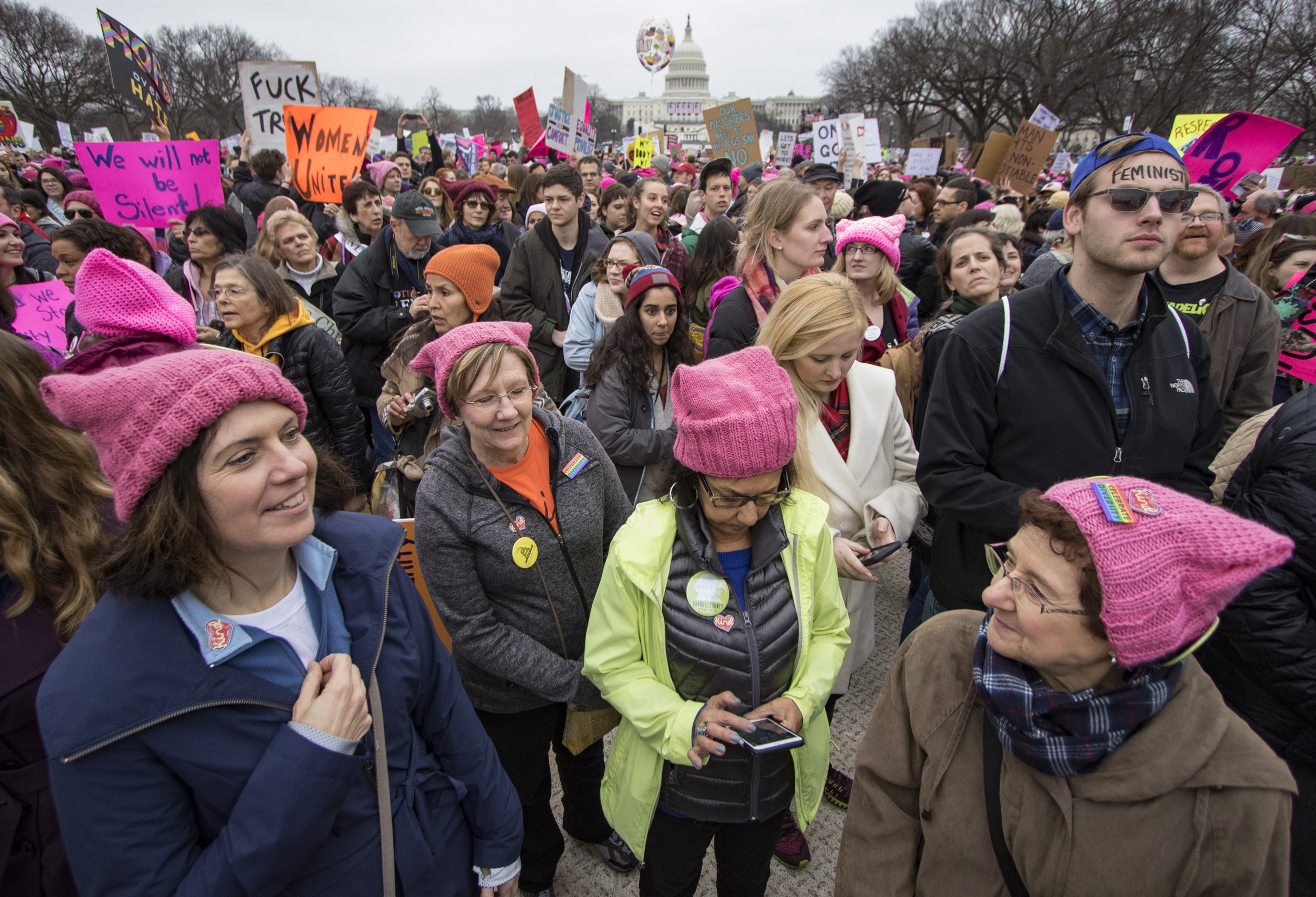 From left to right: Together We Will Carroll County chapter members Karen Jones, Carol Sterner, Tina Adornato, and Celeste Zerner join the Women's March on Washington on the National Mall on Saturday, Jan. 21, 2016.