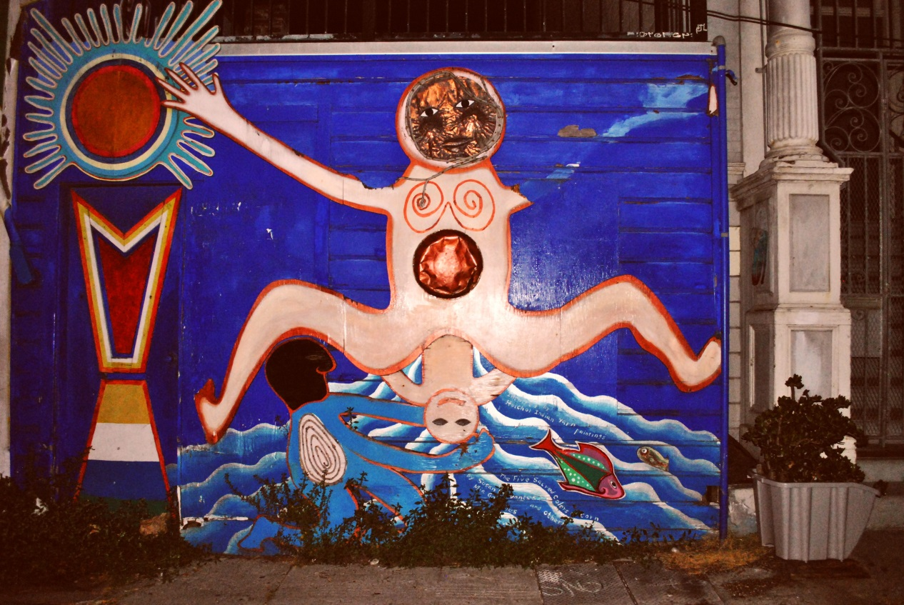 Woman giving birth in an alley, San Francisco