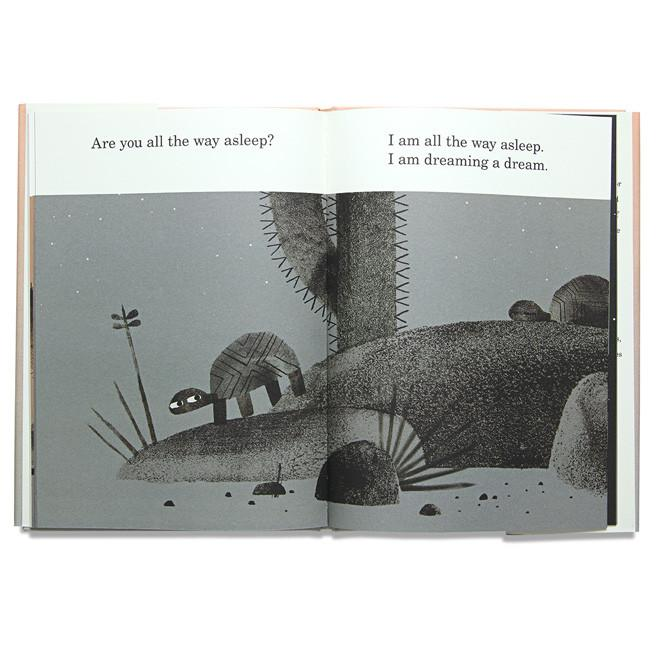 We Found a Hat  by Jon Klassen. Two turtles find a hat in a desert and don't know what to do. Ages 2-8.