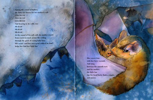 The Little Lost Bat  by Sandra Markle. A bat loses their mother, a mother loses their bat. Bat adoption, weeping, breastfeeding—human parenthood fears in a story about bat adoption, which happens in bat populations all the time. Ages 4-9.