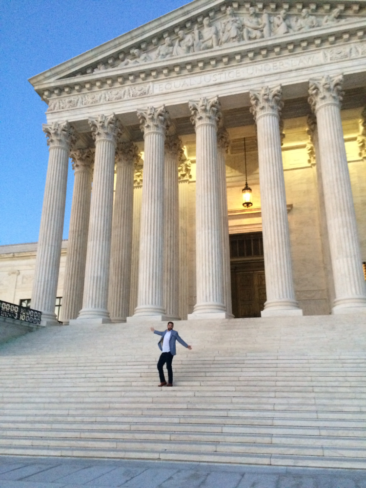 Since I neglected to take any good pictures of sandwiches enjoy this shot of me at the Supreme Court.