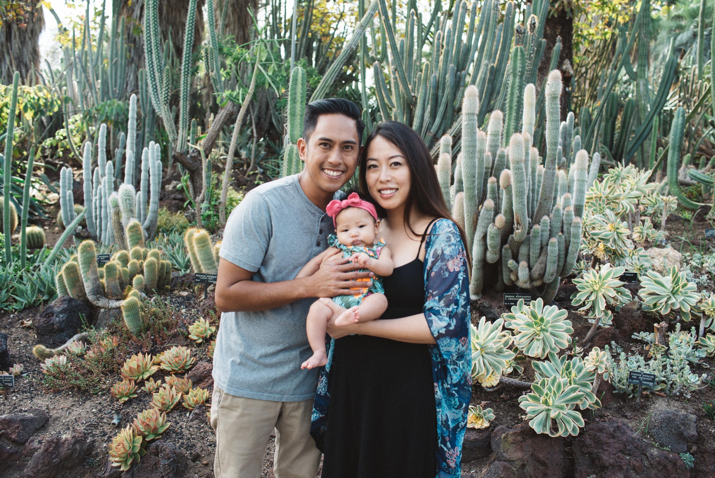 Family photo at Huntington Library Botanical Gardens, San Marino, CA. Ava is 8 weeks here.