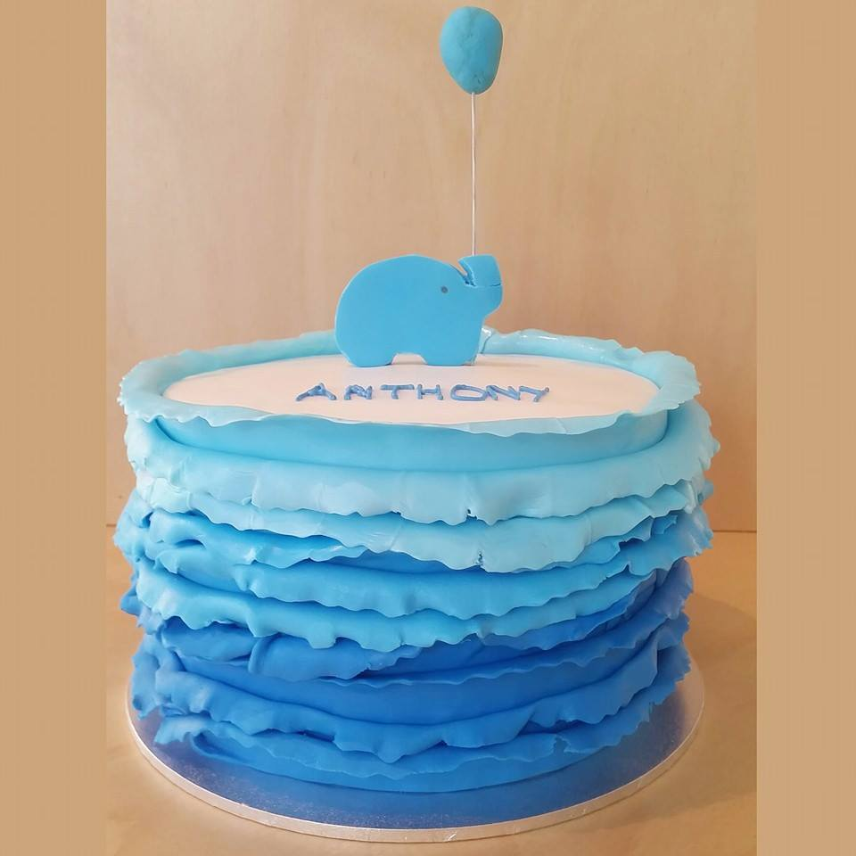 Ombre blue ruffle cake