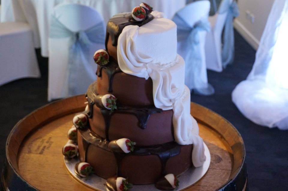 Inside Out Wedding Cake - half white half chocolate