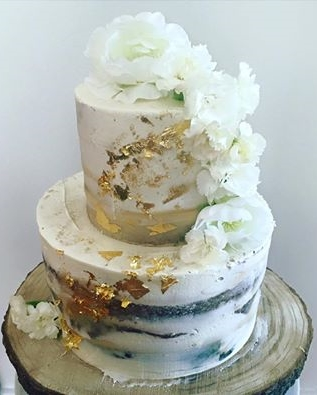 Semi Naked Cake with gold leaf