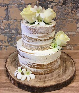 Semi Naked Engagement Cake