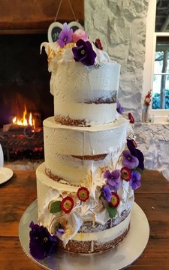 3 tier semi naked cake with edible flowers and meringue