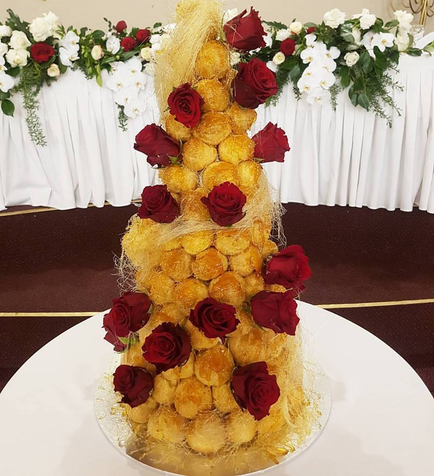 Profiterole Cake with Red Roses
