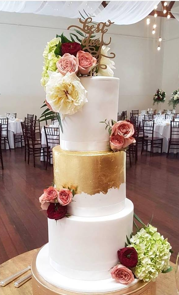 Three tier with gold leaf