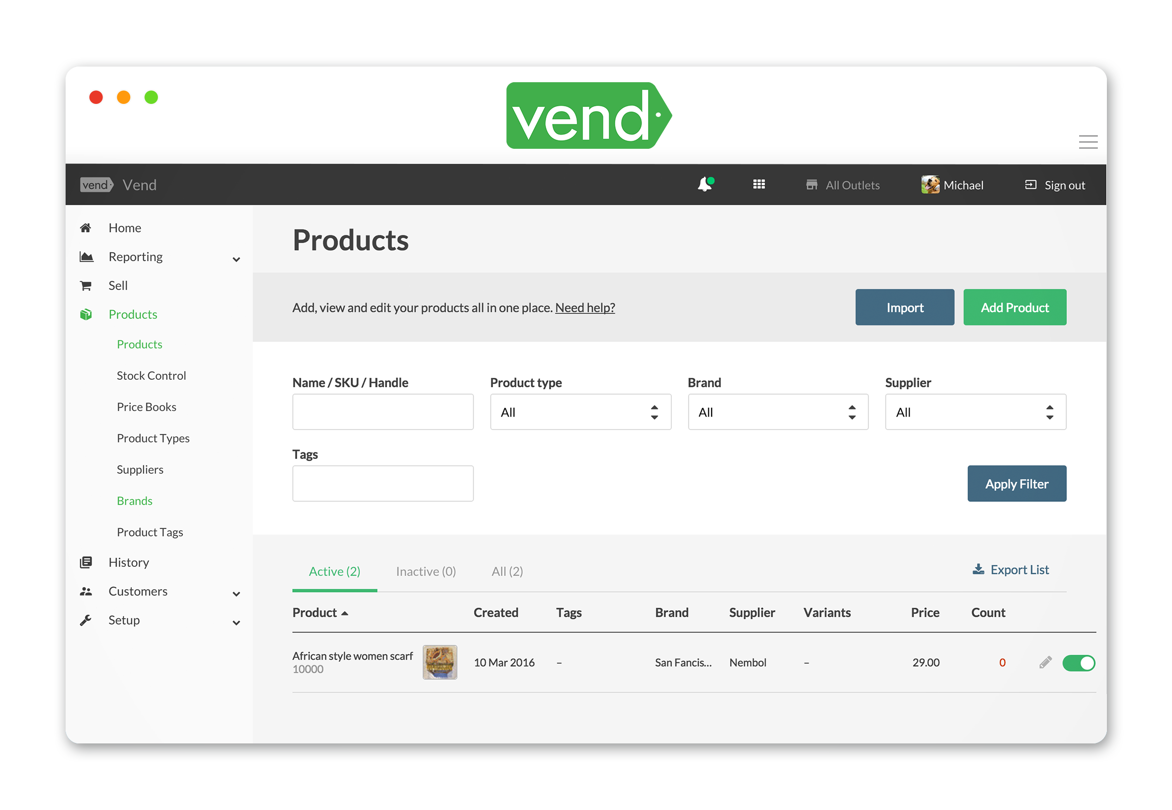 Vend, the Online Retail POS & E-Commerce System