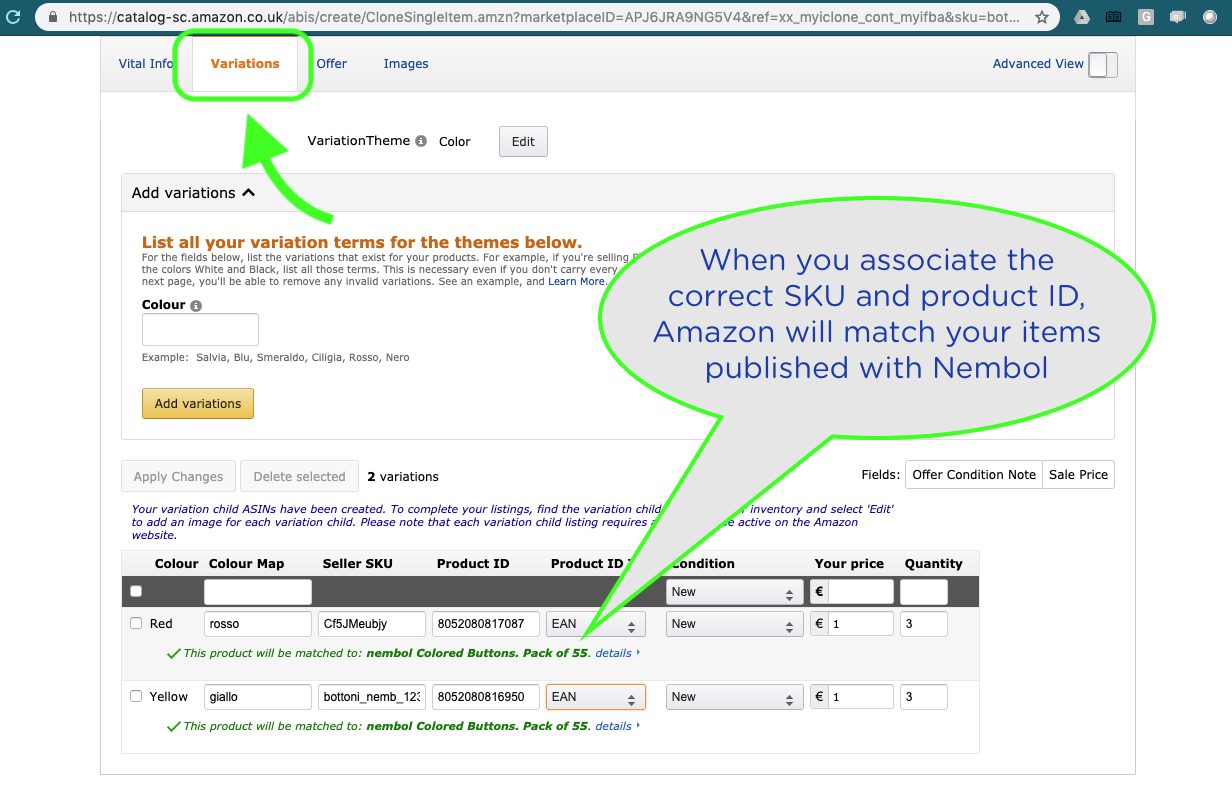 How to manage products with variants on Amazon with Nembol