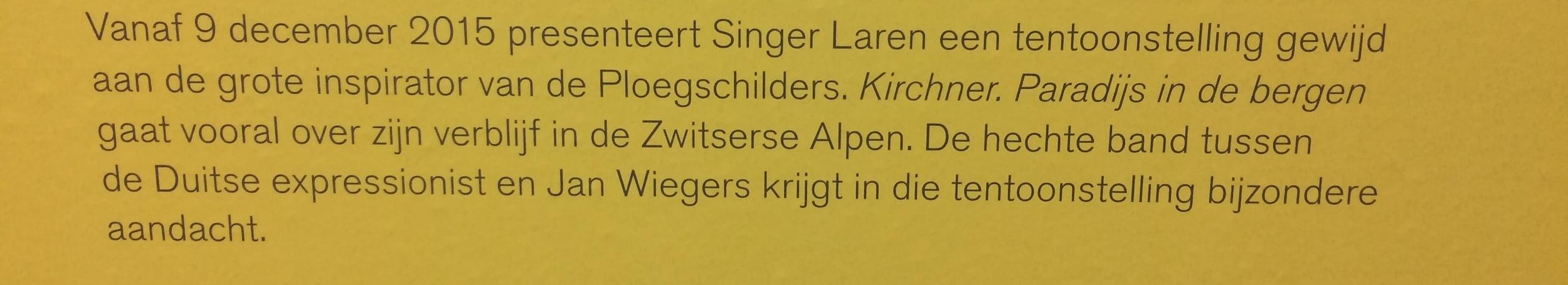 Laatste tekst van de tentoonstelling over de Bergense School in Singer Laren