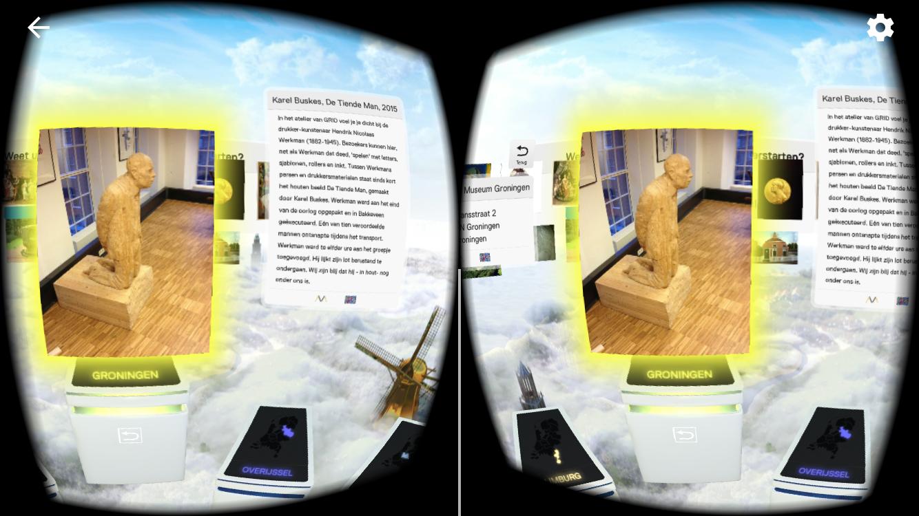 Screenshot van het VR Museum op mijn telefoon, als je het door een VR-bril bekijkt zie je het natuurlijk niet meer dubbel.