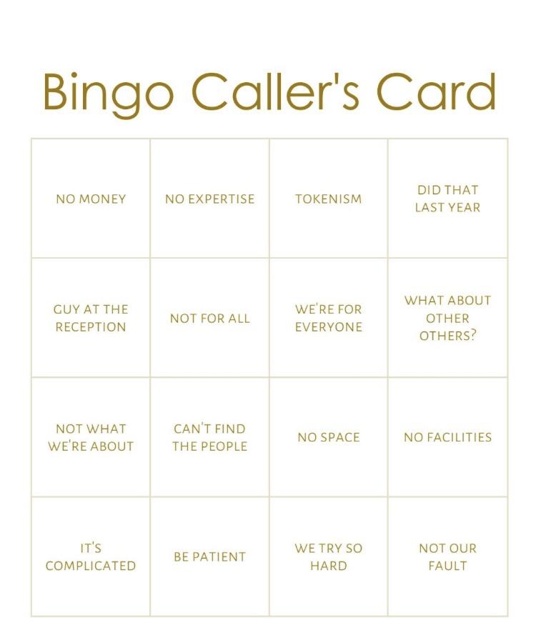 No Excuse Bingo, MuseumNext, Decolonizing, DE Museumpodcast
