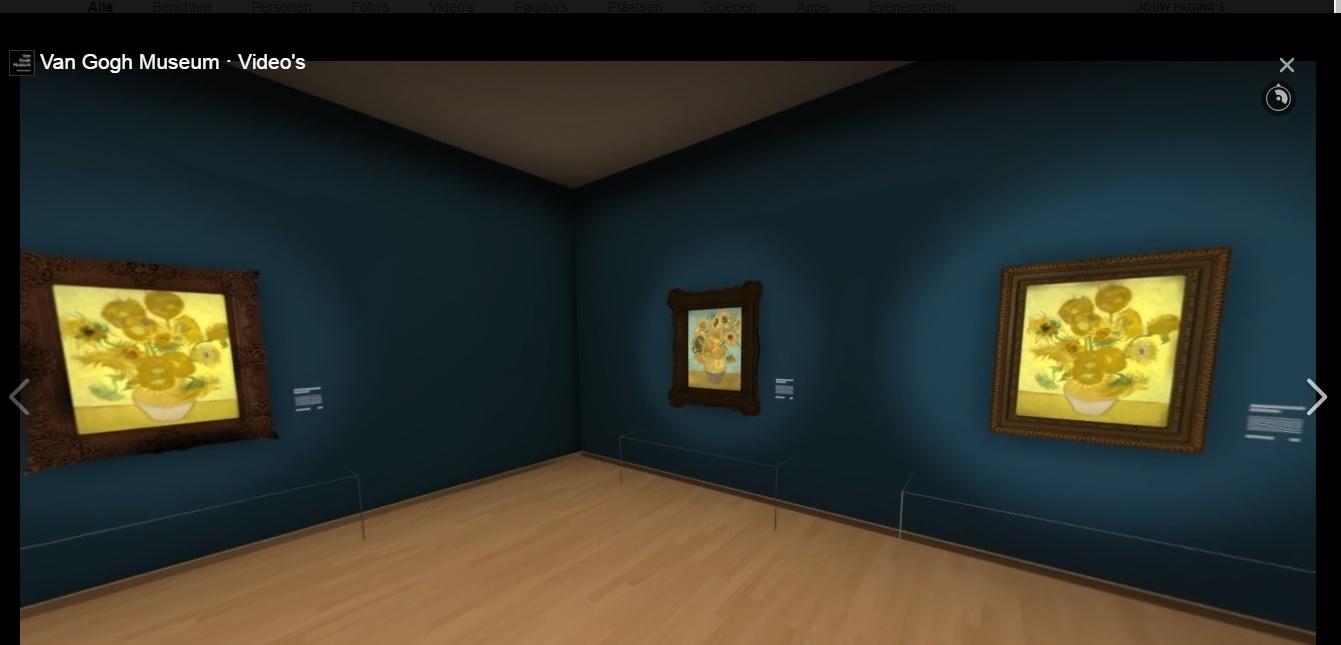 Screenshot van de virtuele tentoonstelling op Facebook