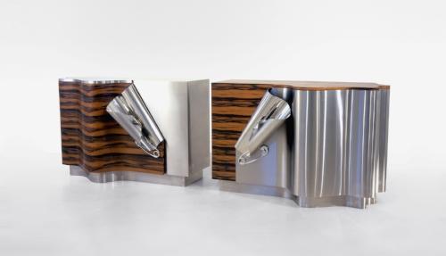 Maria Pergay Cabinets 'Drape A' and 'Drape B'