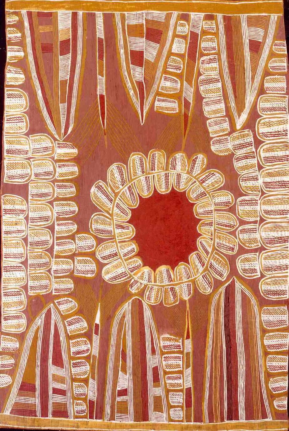 Linda Namiyal Bopirri, 1990, Yolngu Matha (Durrurna clan, Dhuwa moiety), Oyster ('Oyster Dreaming', 'Wayanaka') Bank, Ochre on Bark, 64x95cm.    © the artist's estate, licensed by Aboriginal Artists Agency Ltd; Burkhardt-Felder Collection, Switzerland.
