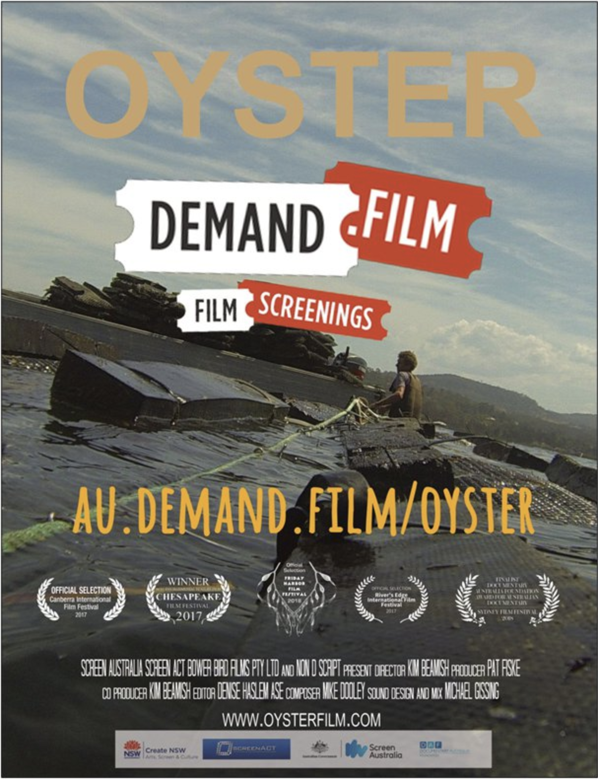 Screen the film at your local cinema. - DEMAND.FILM is an online platform that lets individuals and organisations choose a film they want to play at their local cinema. Here's how it works:1. Click here to visit OYSTER on the DEMAND.FILM website2. Sign up to host the screening by becoming the event's 'promoter'.3. Indicate your preferred date, time and cinema and DEMAND.FILM will get in touch to confirm the details.4. Spread the word! Invite friends and community to buy tickets via the ticket link. Let us know (info@nondscript.com) and we will send you posters and flyers as well as help you promote the event. We may even be able to come?5. Once enough tickets are sold (usually 40–50) by a designated date, the screening is confirmed. If not enough tickets are sold, no one is charged and the event is cancelled.