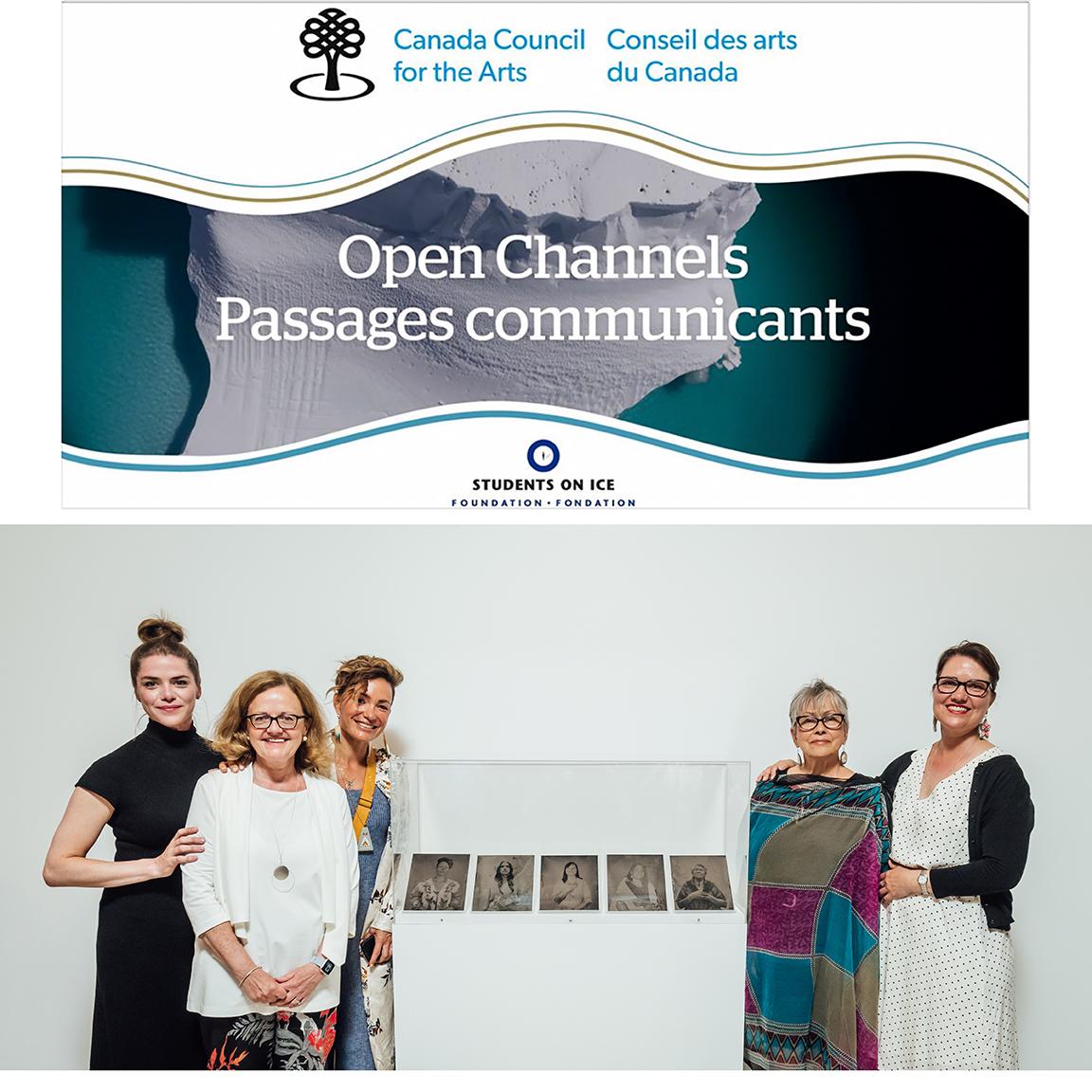 """ Open Channels"" Exhibition, Âjagemô Art Space, Canada Council for the Arts, Ottawa, Canada. June 25, 2019.(Kaniehtí:io Horn, Christine Fitzgerald, Waneek Horn-Miller, Kahentinétha' Horn and Dr. Kahente Horn-Miller.) (Photo credit: Martin Lipman)"