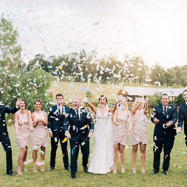 Biodegradable Confetti thrown for wedding photo of Bridal Party - Blaso Pyrotechnics