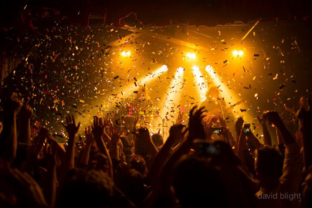 Confetti covering crowd during band performance - Blaso Pyrotechnics, Australia