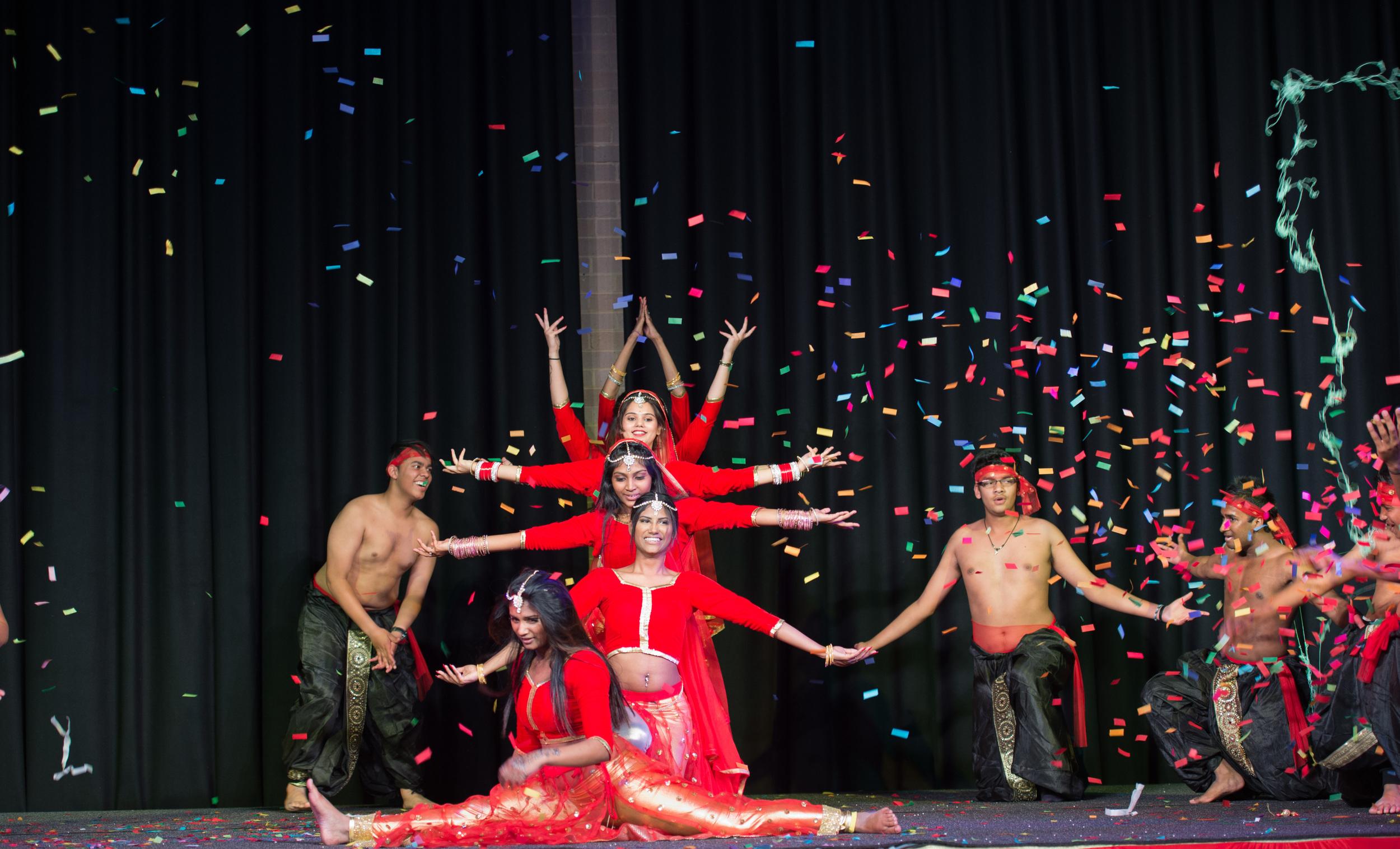 Handheld Confetti Cannons shot during cultural performance Diwali - Blaso Pyrotechnics, Melbourne, Australia