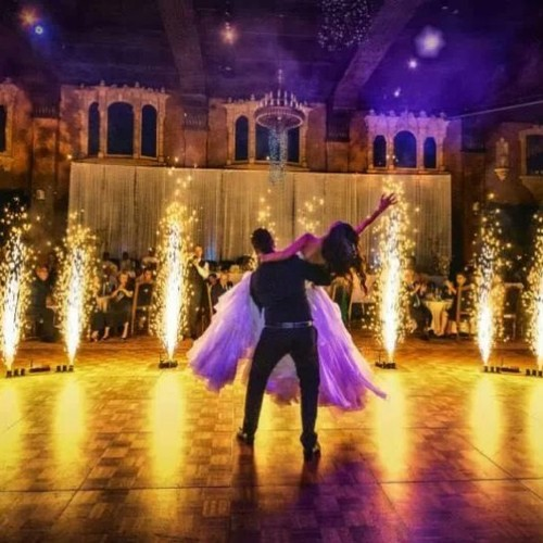 Silver Fountains during Bride and Grooms First Dance - Blaso Pyrotechnics